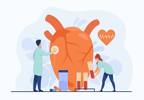 Cardiologists examining heart with stethoscope and blood samples in lab tubes among pills and heartbeat diagram. Vector illustration for cardiology, medical examination, heart disease concept